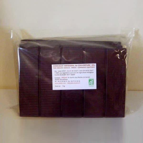 Chocolat noir de couverture - 63% de cacao sans lecithine-bio