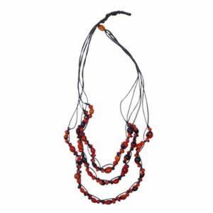 Collier artisanal en graines triples huayruro - modèle 2