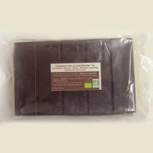 Chocolat cru de couverture 75% de cacao sans lecithine bio