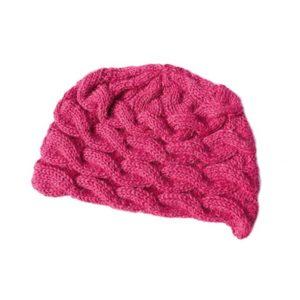 Bonnet rose teinture naturelle motif chaine