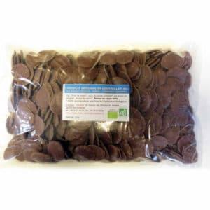 Chocolat au lait de couverture en gouttes 40% de cacao sans lecithine - bio