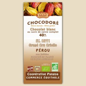 Chocolat Blanc El Inti au Sucre de Canne Complet