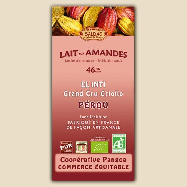 Chocolat au lait El Inti aux amandes