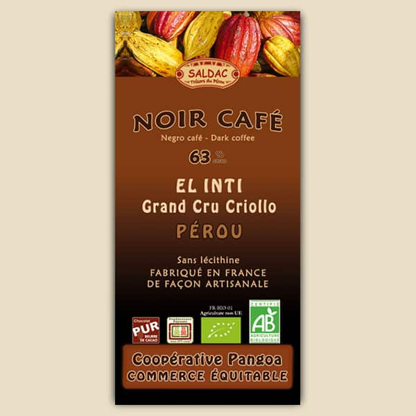 Chocolat El Inti Noir au Café - origine Pérou