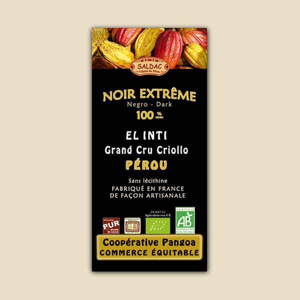 Chocolat El Inti noir extreme issu du commerce équitable