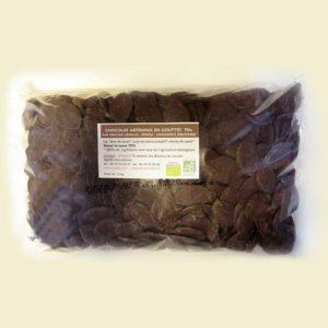 Chocolat noir de couverture Bio en gouttes 70% de cacao