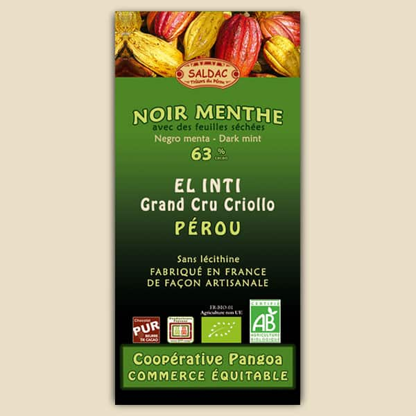 Chocolat Noir El Inti à la Menthe