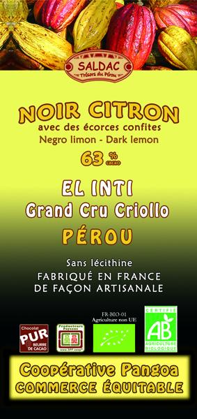 Chocolat noir El Inti au Citron avec des écorces confites - 63% de cacao