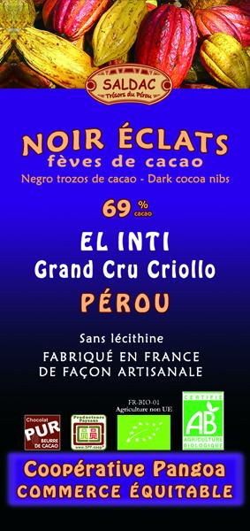 Chocolat noir El Inti Éclats de fèves bio - 69% de cacao