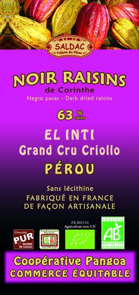 Chocolat noir El Inti aux raisons de Corinthe - 63% de cacao