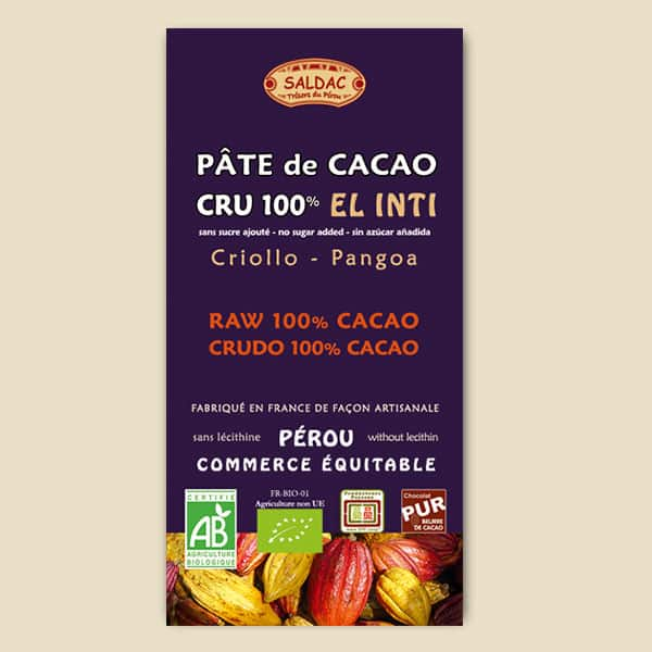 Pâte de Cacao Cru El Inti - 100% Cacao - Origine Pérou