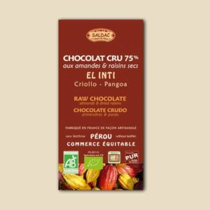 Chocolat cru el inti aux amandes et raisins secs