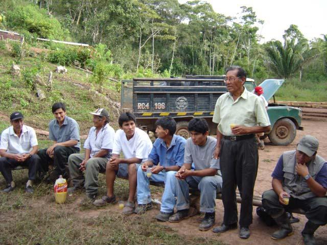 Réunion d'accueil au village de Sanchirio (café El Palomar) - SALDAC