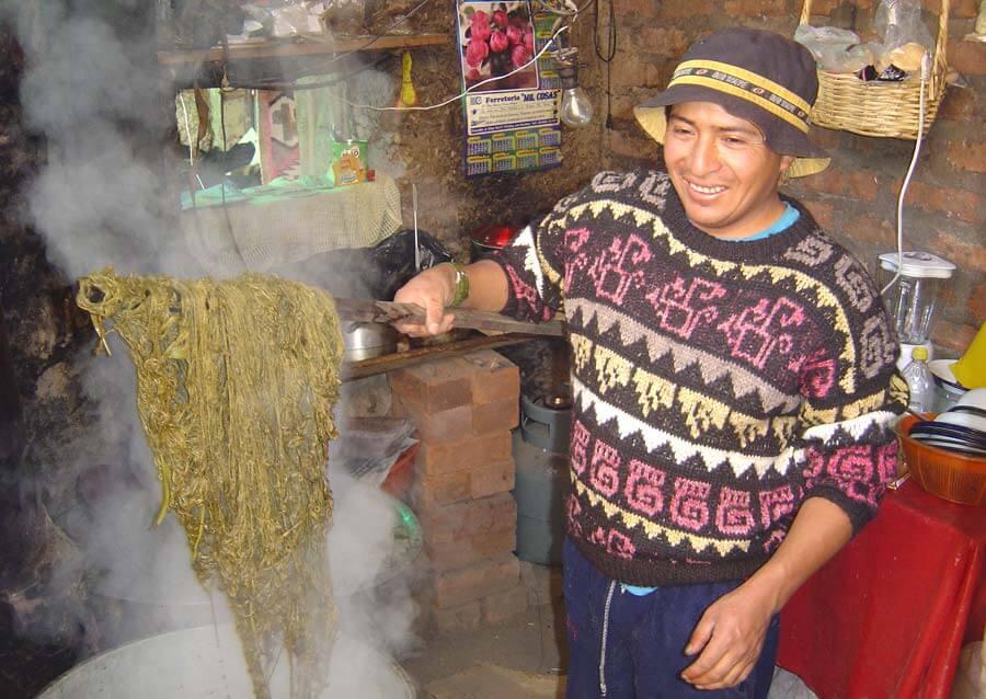 Teinture de la laine d'Alpaga