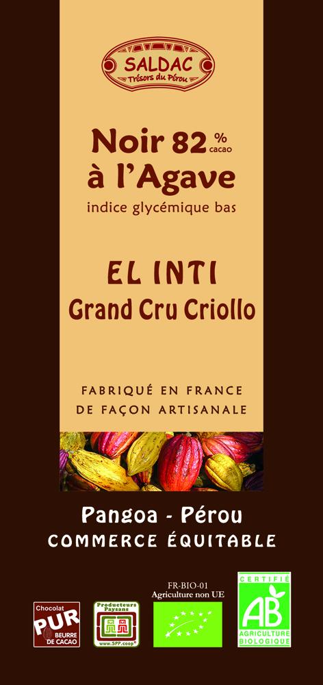 Chocolat Noir El Inti à l'Agave - 82% de cacao