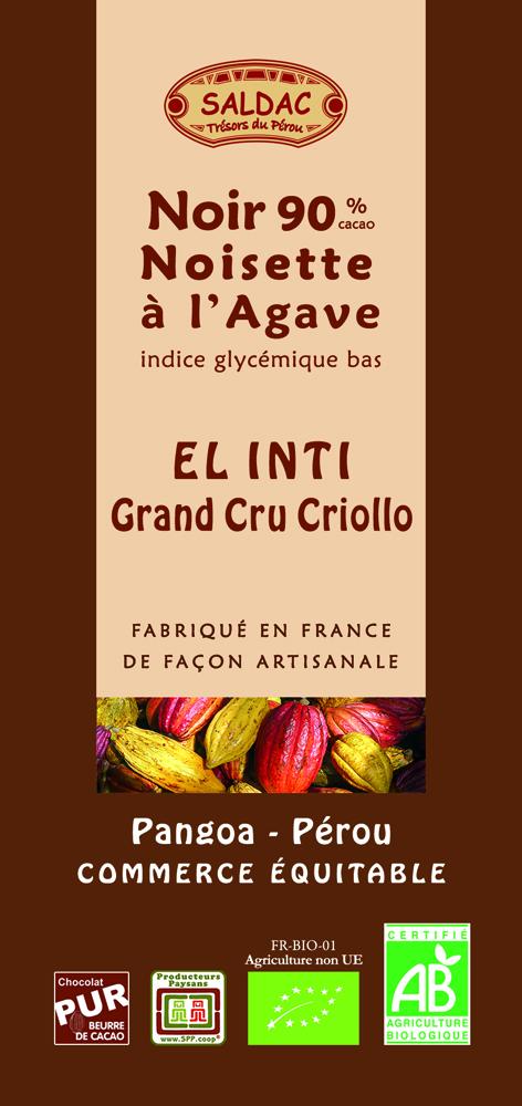 Chocolat Noir El Inti - Noisette à l'Agave - 90% de cacao