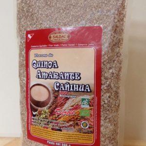 Mélange de Flocons : Quinoa Amarante Canihua - Produits bio du Pérou - Sachet de 500 g