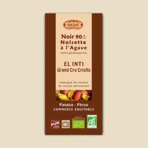 chocolat el inti noir noisette 90% de cacao