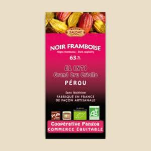 Chocolat noir bio à la framboise - 63% de cacao