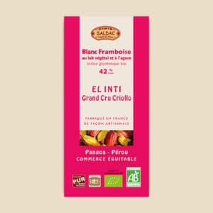 Chocolat Blanc Framboise El Inti - Au lait végétal et à l'Agave - 42% de cacao
